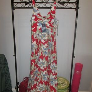 Chaps Maxi Dress Red/White Med New w/Tags